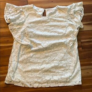 LIKE NEW LACE BLOUSE WITH FLUTTER SLEEVES